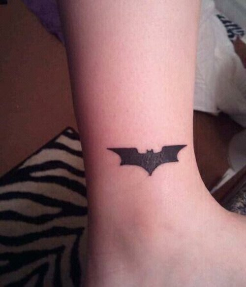 Little Dark Black Batman Symbol Tattoo On Ankle