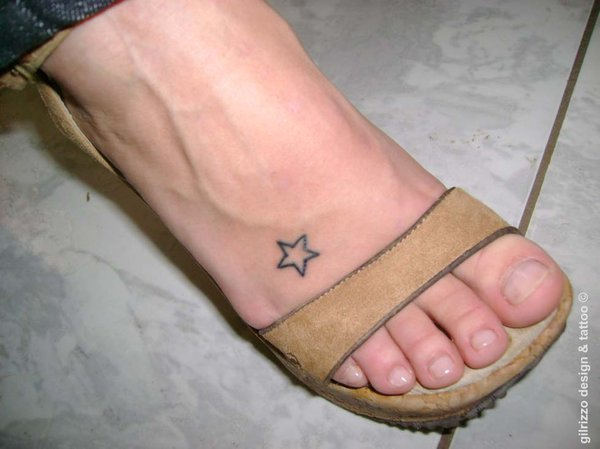Little Outline Star Tattoos On Foot