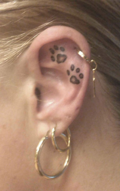 Little Size Paw Print Tattoos Behind Ear