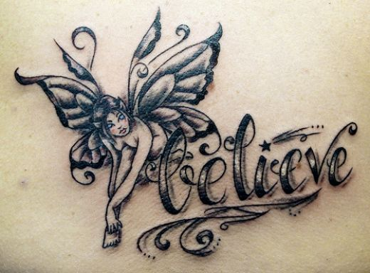 Little Stars And Fairy Tinkerbell Tattoos For Back Shoulder