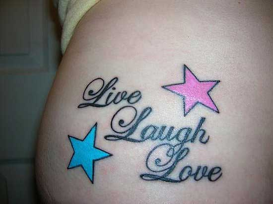 Live Love Laugh And Ladybug Tattoo On Waist