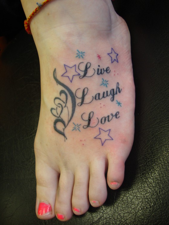 Live Love Laugh Tattoo On Foot For Girls