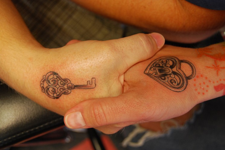 Lock And Key Tattoo For Couples