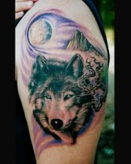 Lone Wolf Tattoo On Back Arm