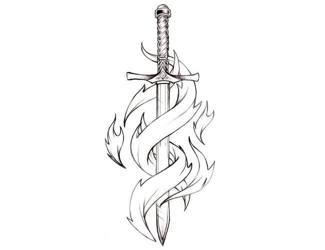 Long Tribal Sword Tattoo Style For Guys