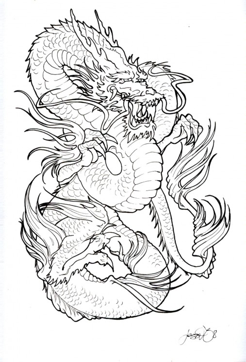 Lotus Dragon And Wave Tattoos On Sleeve