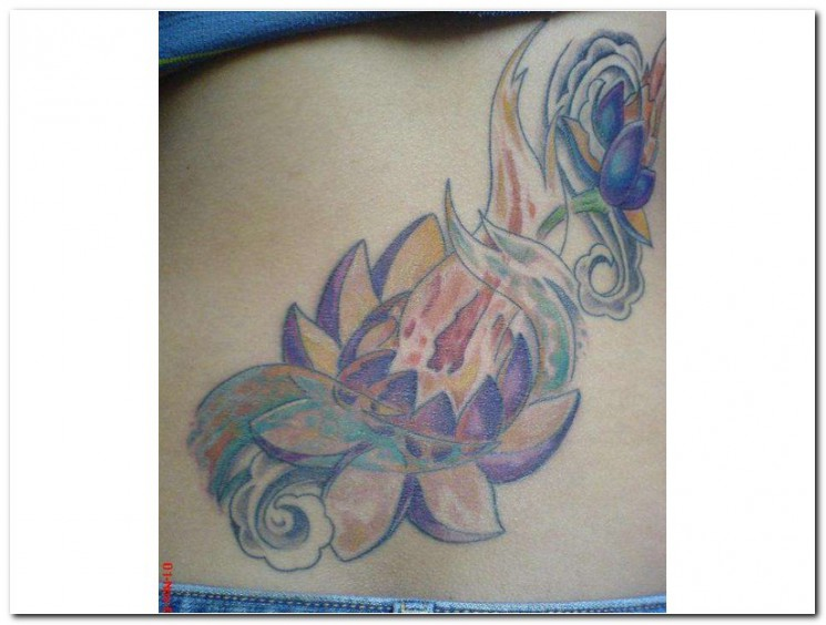 Lotus Fire nd Flames Tattoo On Back Legs
