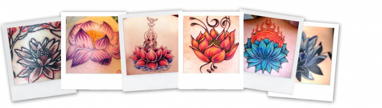 Lotus Flower And Ohm Tattoo Designs On Back Body