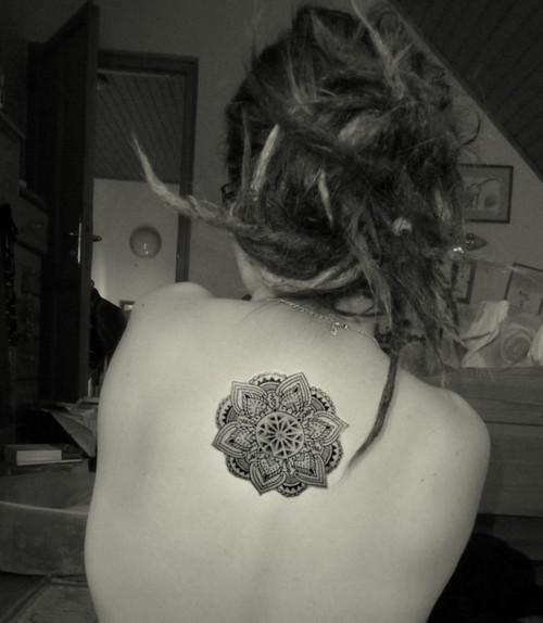 Lotus Mandala Tattoo On Upper Back