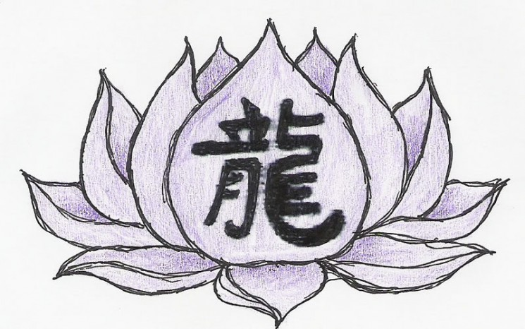 Lotus n Kanji Tattoo Design