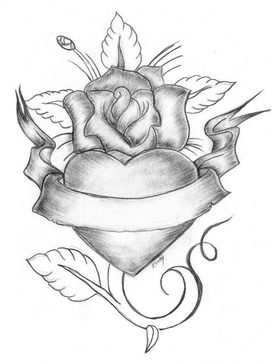 Love Aint No Game Heart And Roses Tattoos Sketch