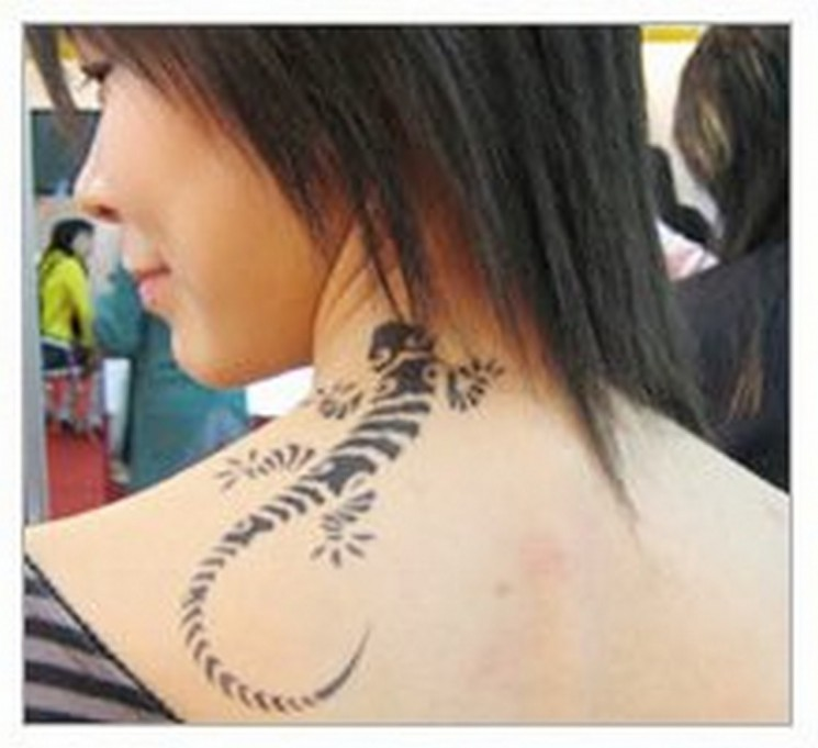 Love Arabic Tattoo On Girls Back Neck