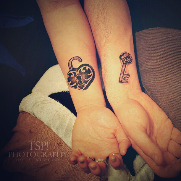 Love Lock Key Tattoo For Couples