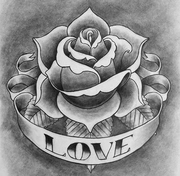Love Rose Tattoo On Forearm