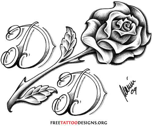 Love Tattoo With Rose And Heart