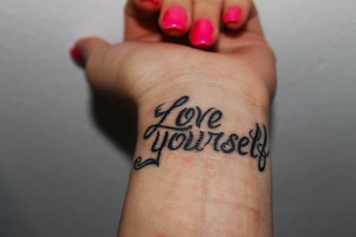 Love yourself tattoo on wrist in 2017 real photo pictures all images to love yourself tattoo on wrist urmus Image collections