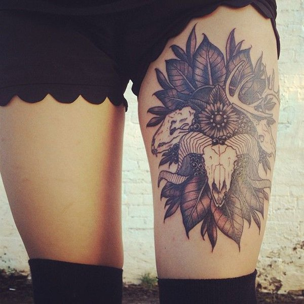 Lovely Animal And Rose Frame Tattoos On Thigh