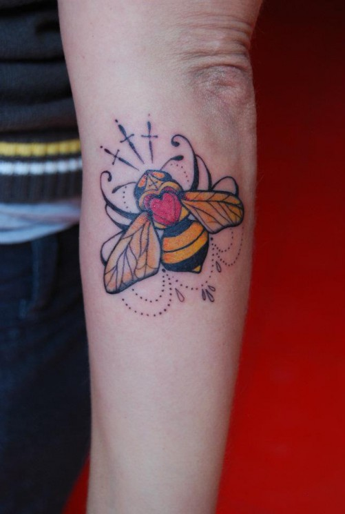 Lovely Bee Arm Tattoo