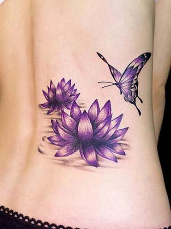 Lovely Blue Waves And Lotus Tattoos For Girls