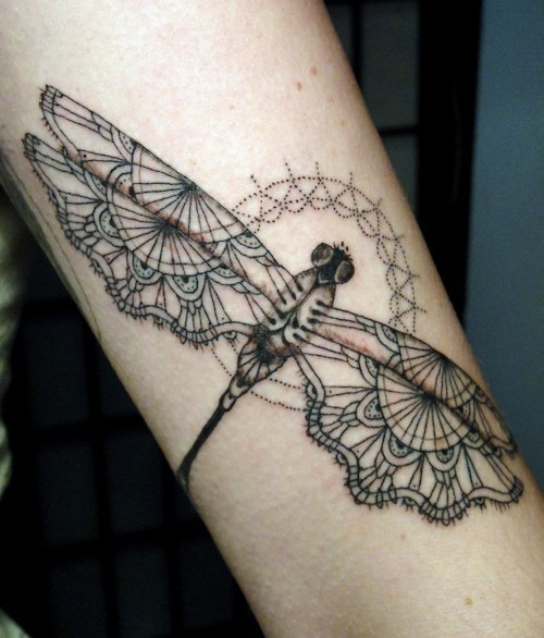 Lovely Butterfly Ribbon Tattoo