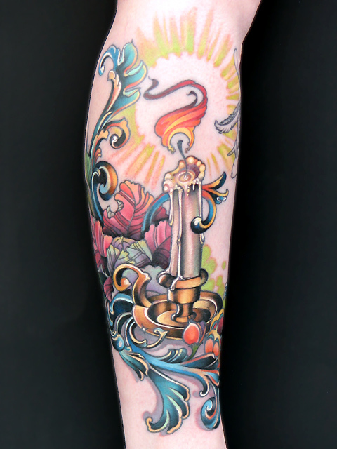 Lovely Candle Tattoo On Arm