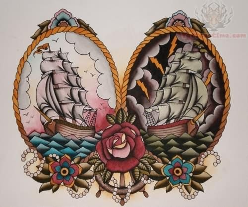 Lovely Colorful Ship Tattoo Designs