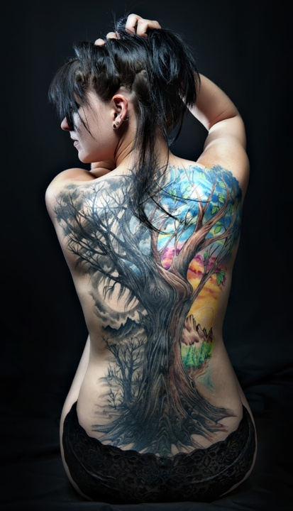 Lovely Colorful Tree Tattoo On Back