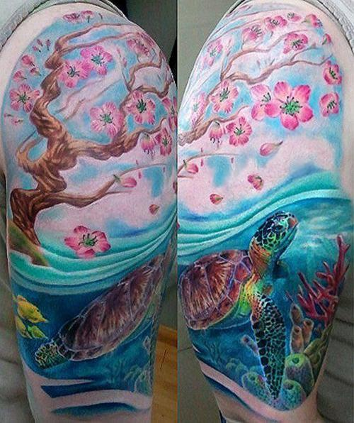 Lovely Colorful Turtles Tattoos On Ankle