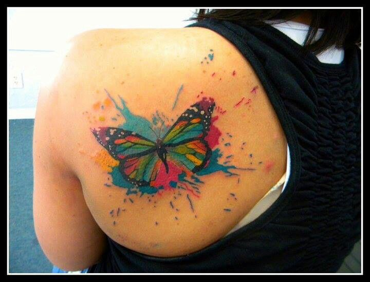 Lovely Colourful Butterfly Tattoo