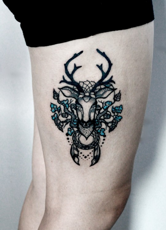 Lovely Deer Tattoo On Right Thigh