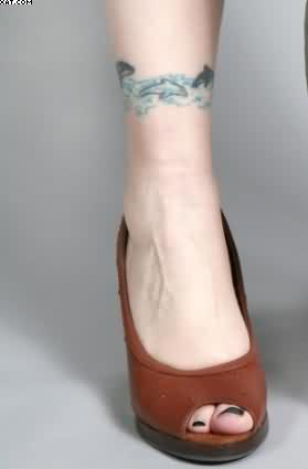 Lovely Dolphin Tattoo On Ankle