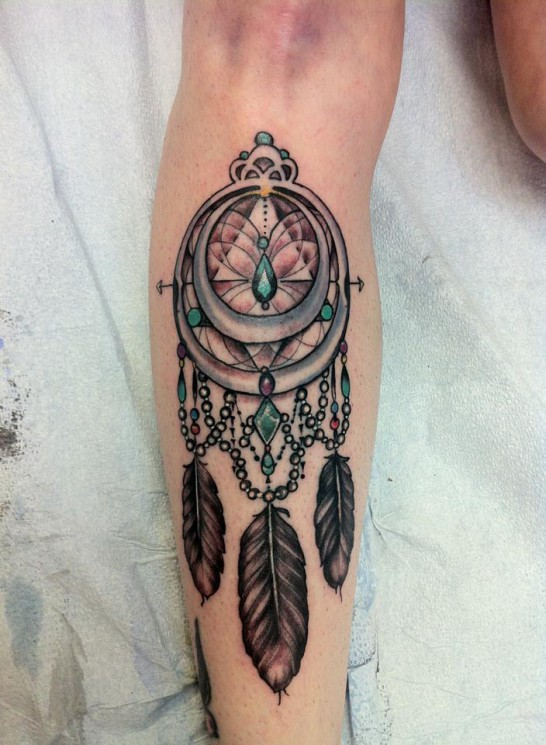 Lovely Dream Catcher Leg Tattoo Design