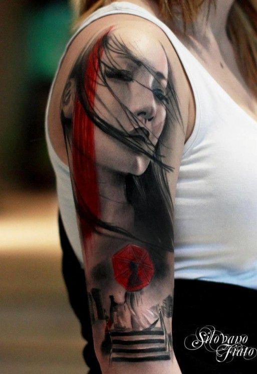 Lovely Geisha Portrait Tattoo On Half Sleeve