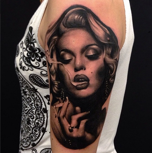 Lovely Glass With Pearl Tattoo On Half Sleeve