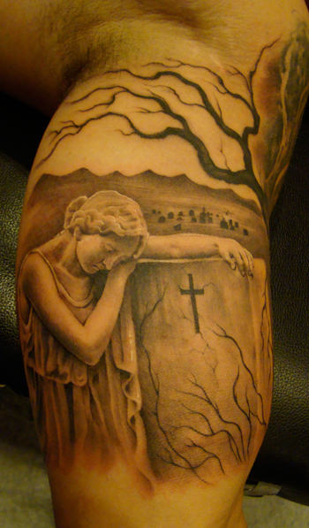 Lovely Graveyard Tattoo Picture