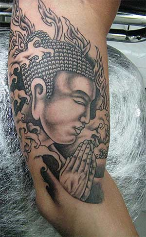 Lovely Lord Buddha Asian Tattoo On Arm