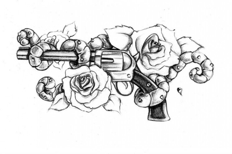 Lovely Pistol And A Rose Tattoo