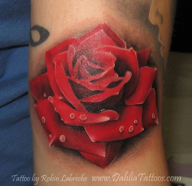 Lovely Realistic Red Rose Tattoo For Girls