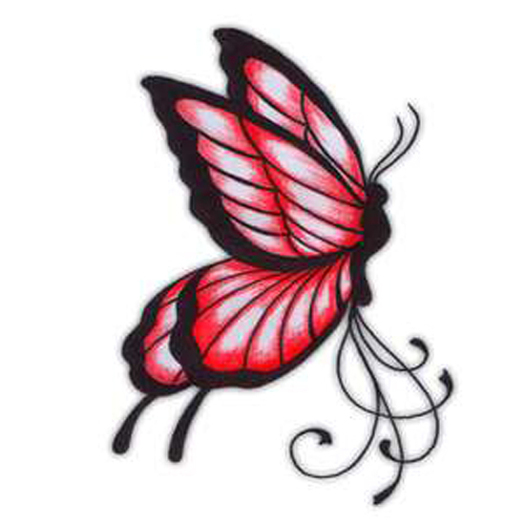 Lovely Red Butterfly Tattoo