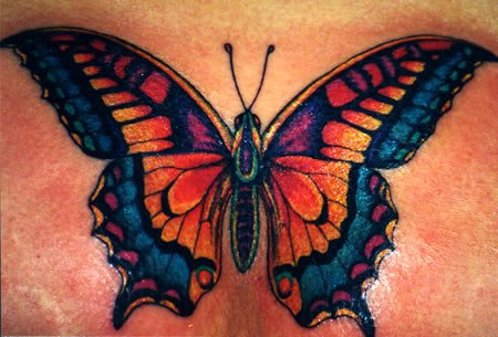 Lovely Tiger Butterfly Tattoo On Foot
