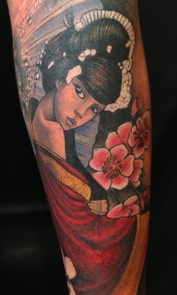 Lovely Traditional Japanese Girl Tattoo On Arm