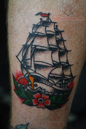 Lovely Traditional Ship And Flower Tattoos