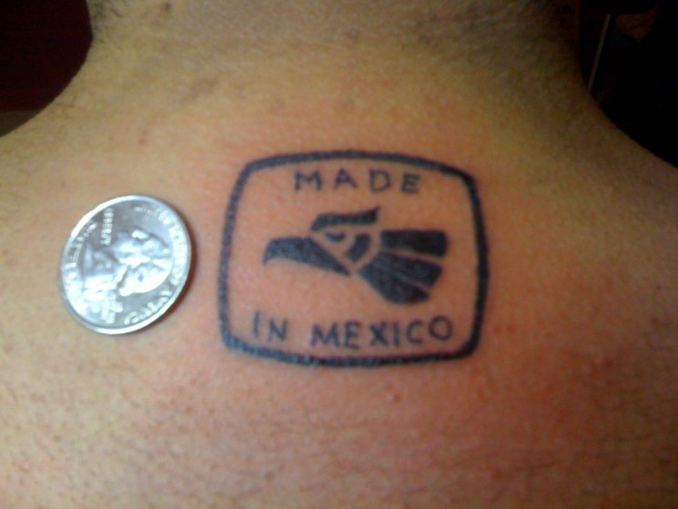 Made In Mexico Eagle Tattoo And A Coin On Back