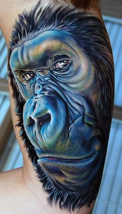 Magician Monkey Tattoo On Muscles