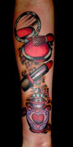 Makeup Brush Lipstick And Perfume Tattoos On Arm