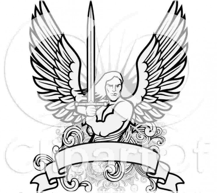 Male Angel Warrior Holding A Sword Over A Blank Banner Tattoo Design