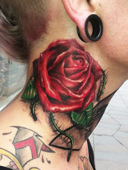 Man And Roses Neck Tattoos
