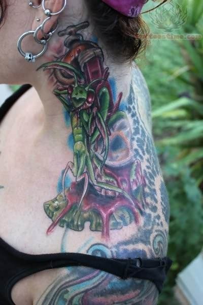 Mantis Insect Tattoo On Ankle