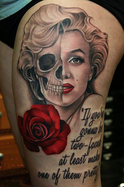 Marilyn Monroe Skull Thigh Tattoos