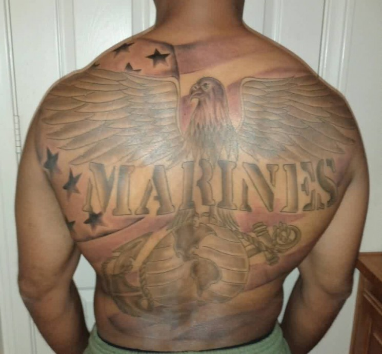Marines American Tattoos On Full Back